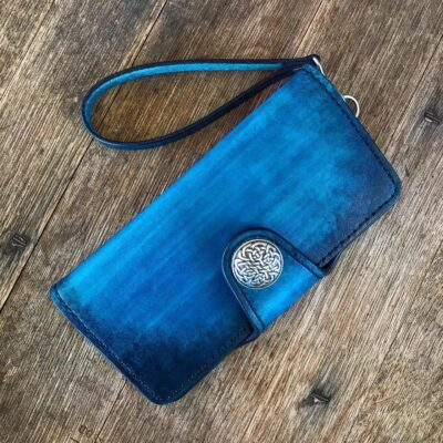 Leather Wallet  – Large Custom Wallet with Wristlet – Antique Blue