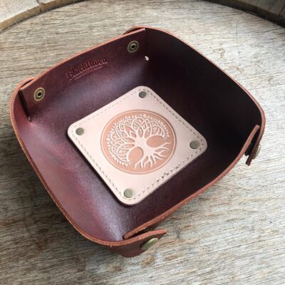 LEATHER VALET TRAY – Leather Catch All – CELTIC TREE OF LIFE