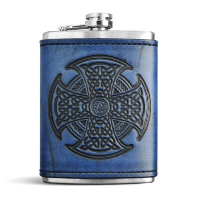 FLASK – Leather Wrapped Flash – CELTIC HIGH CROSS