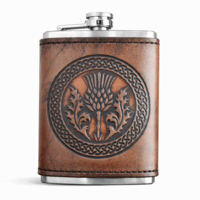 FLASK – Leather Wrapped Flask – THISTLE