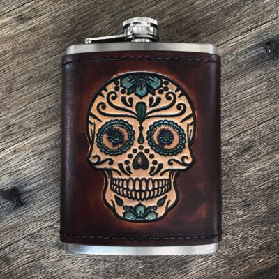 FLASK – ONE OF A KIND – Leather Wrapped Flash – HAND PAINTED SUGAR SKULL