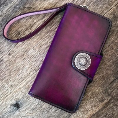 Leather Wallet  – Large Custom Wallet with Wristlet – Antique Purple with Sugar Skull Liner