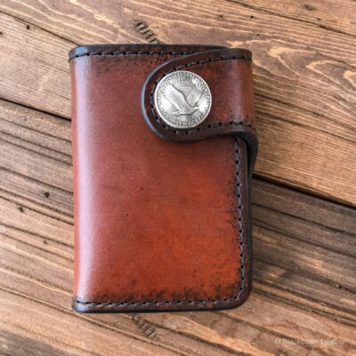 Leather Wallet  – THE GALWAY: VERTICAL SNAP WALLET – FLYING EAGLE