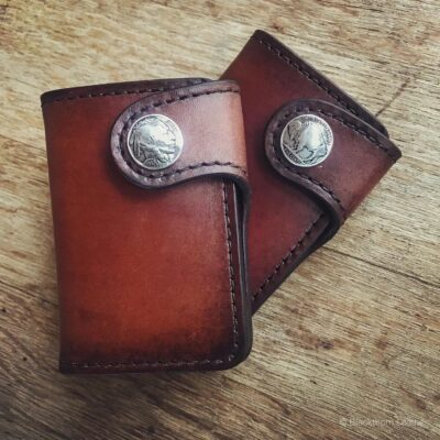 Leather Wallet  – GALWAY: VERTICAL SNAP – INDIAN HEAD BUFFALO NICKEL