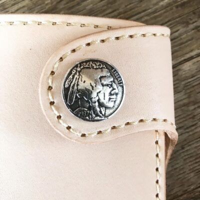 Leather Wallet  – THE GALWAY: NATURAL VEG TAN VERTICAL SNAP WALLET – INDIAN HEAD BUFFALO NICKEL
