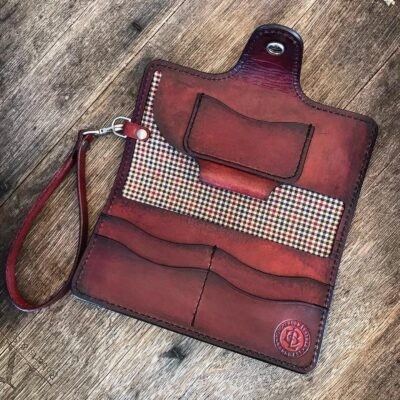 Leather Wallet  – LARGE CLUTCH WALLET WITH WRISTLET – ANTIQUE MAHOGANY