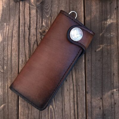 Leather Wallet  – THE GALWAY TRUCKER: FLYING EAGLE US QUARTER – VERTICAL SNAP WALLET
