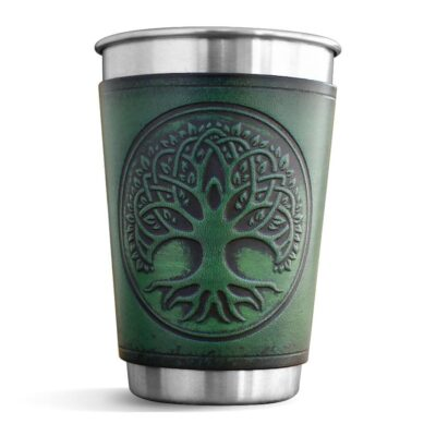 Pint – Leather Wrapped Pint – TREE OF LIFE