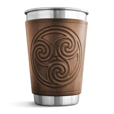 Pint – Leather Wrapped Pint – TRISKEL SPIRAL