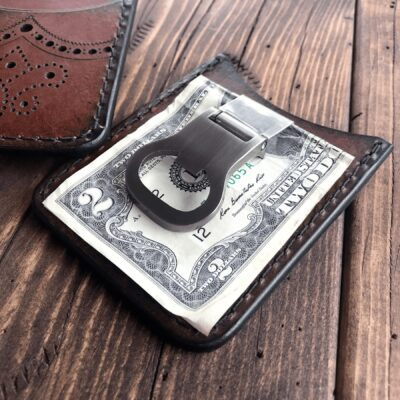 Leather Wallet  – THE BROGUED ROVER II: MINIMALIST CREDIT CARD WALLET WITH MONEY CLIP
