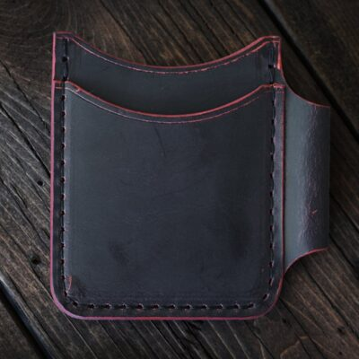 Leather Wallet  – Black Cherry GHOST ROVER II + FISHER Space Pen Sidecar Pocket