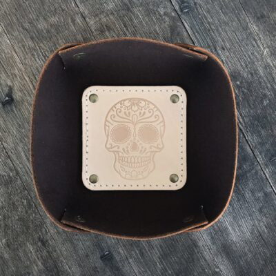LEATHER VALET TRAY – Leather Catch All – Natural SUGAR SKULL
