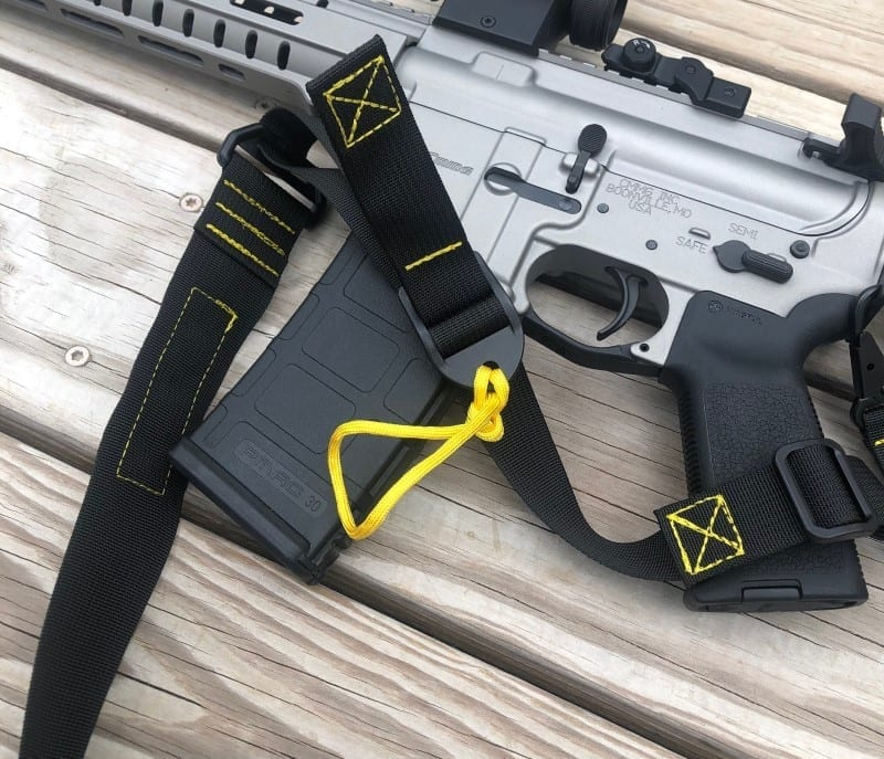 Wide 2 to 1 convertible sling with color stitching rifle sling rifle harness tactical sling black yellow