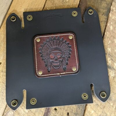 LEATHER VALET TRAY – Leather Catch All – Native Skull