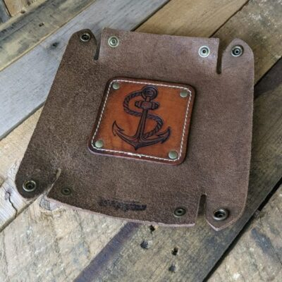 LEATHER VALET TRAY – Leather Catch All – Brown ANCHOR TATTOO