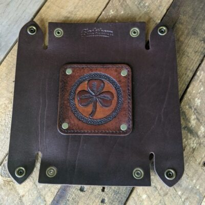 LEATHER VALET TRAY – Leather Catch All – Brown Shamrock