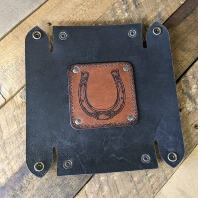 LEATHER VALET TRAY – Leather Catch All – Brown Lucky Horse Shoe