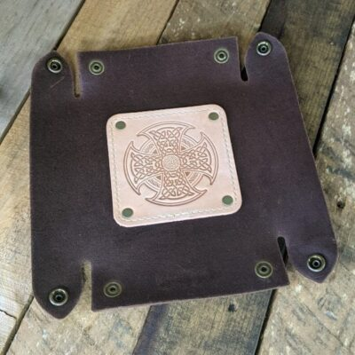 LEATHER VALET TRAY – Leather Catch All – Natural Celtic High Cross