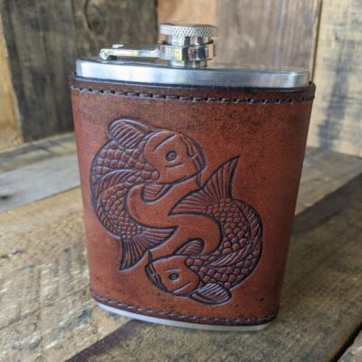FLASK – Leather Wrapped Flask – Koi