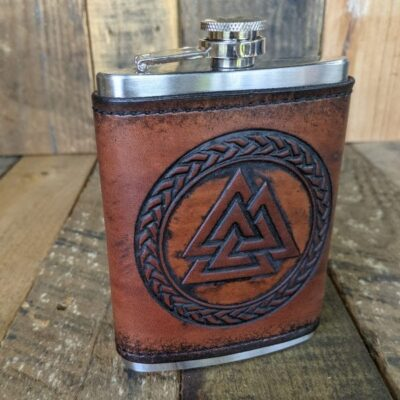 FLASK – Leather Wrapped Flask – Valknut