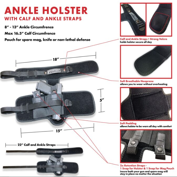 Ankle Holster dimensions with calf and ankle strap