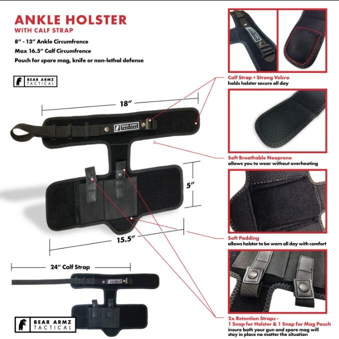 Ankle Holster dimensions with calf strap