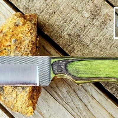 Compact Knife – Anza Knives -115 Nute Black Green ST LHH Blade